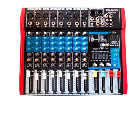 Mesa Soundvoice Ms802eux 8 Canais Usb Efeitos Gravação
