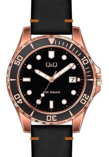 Reloj Hombre Q&q A172j Metal Y Cuero Calendario Wr50m