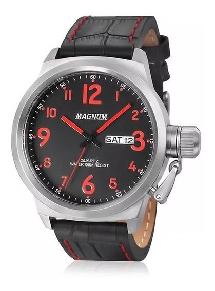Relógio Magnum Masculino Pulseira Preta Vermelho Prova Dágua