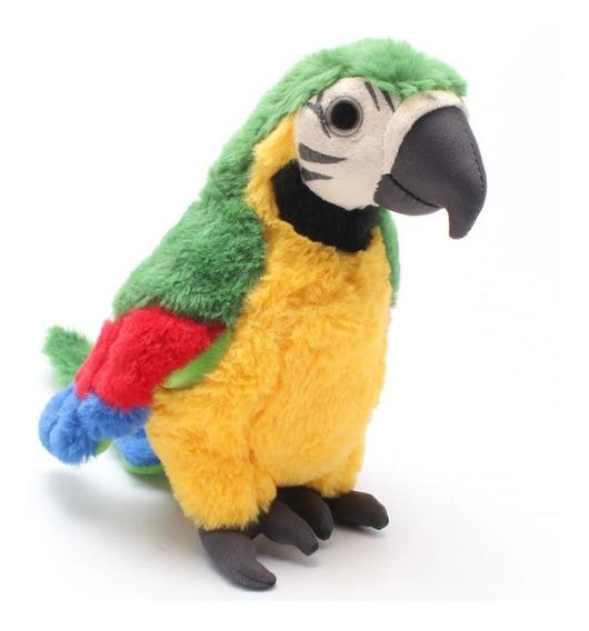 Papagaio Brasil Pelucia Verde Amarelo 25cm Antialergico