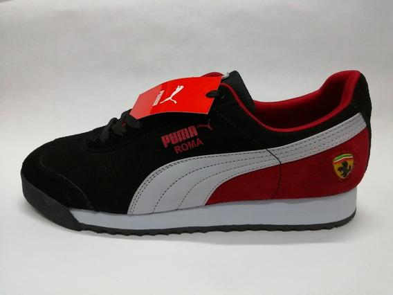 Zapatilla Puma Clasica Negra Roja Rom 18 Hombres Ropa y