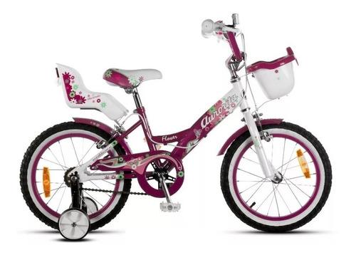 Bicicleta Aurora Flowers Rodado 16 Nena Rueditas Canasto