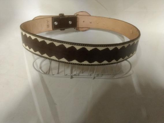 Cinturón Vaquero Bordado En Hilo Color:cafe -el Güero-