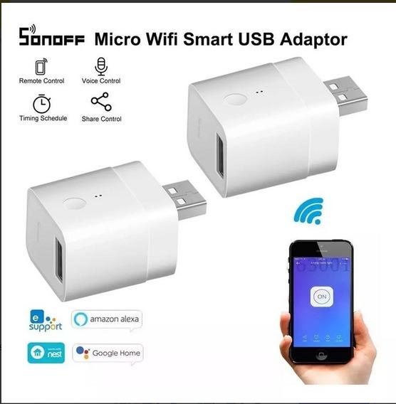 Kit 4 Pç Sonoff Micro 5v Usb Adaptador Automação Alexa Home
