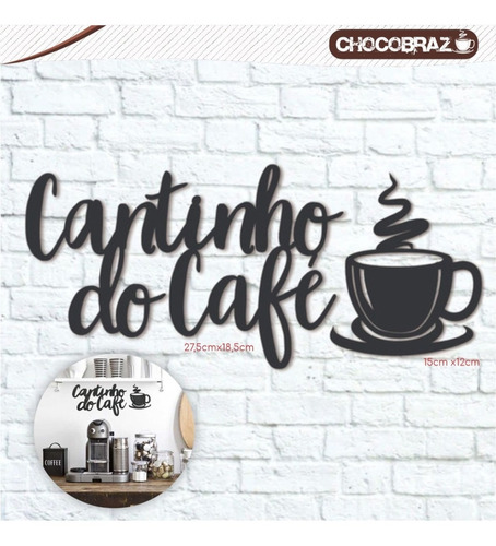 Imagem 1 de 1 de Decoração Gourmet Cantinho Do Café Em Mdf Preto