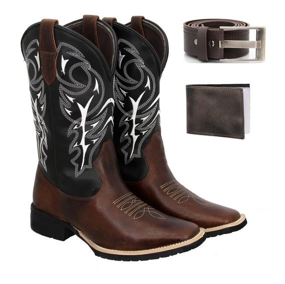 Bota Texana Country Masculina Couro Delegada+carteira+cinto