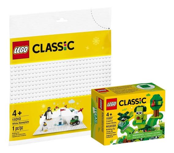 Kit Lego Classic Peças Verdes Criativas + Base Branca