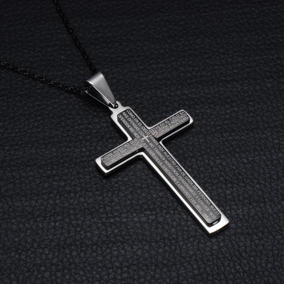 Colar Crucifixo Com Oração De Aço Inox Corrente Preta