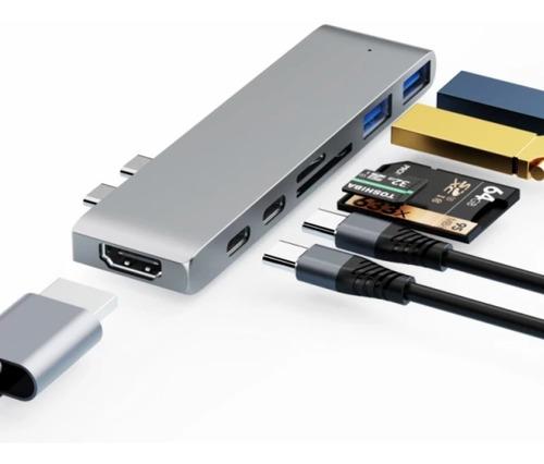 Imagem 1 de 8 de Adaptador Hub Macbook Pro 7em1 Usb C + Hdmi 4k + Thunderbolt