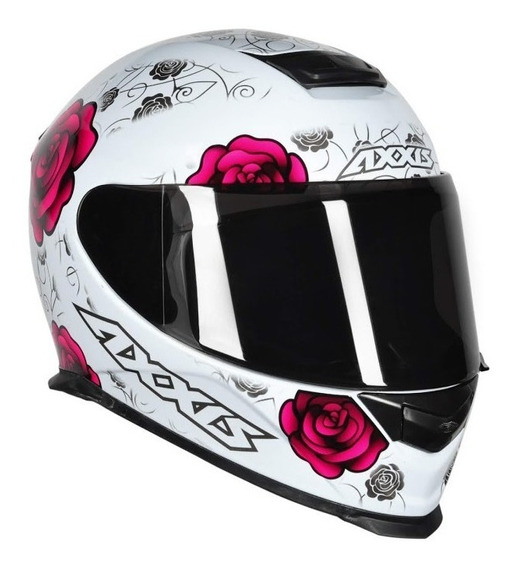 Capacete Feminino Axxis Mt Flowers Branco Rosa Pink