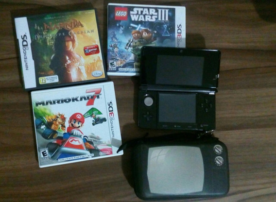 Nintendo 3ds Cosmo Black + 3 Jogos (pouquíssimo Uso).