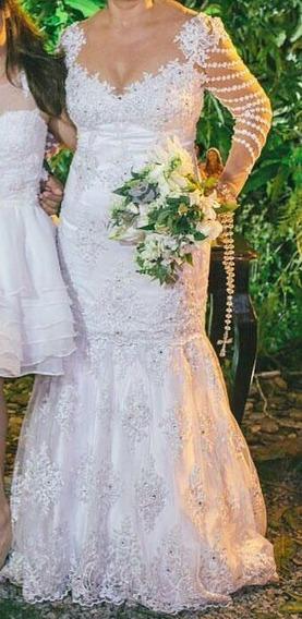 Vestido De Noiva Semi Sereia Com Saia Removível