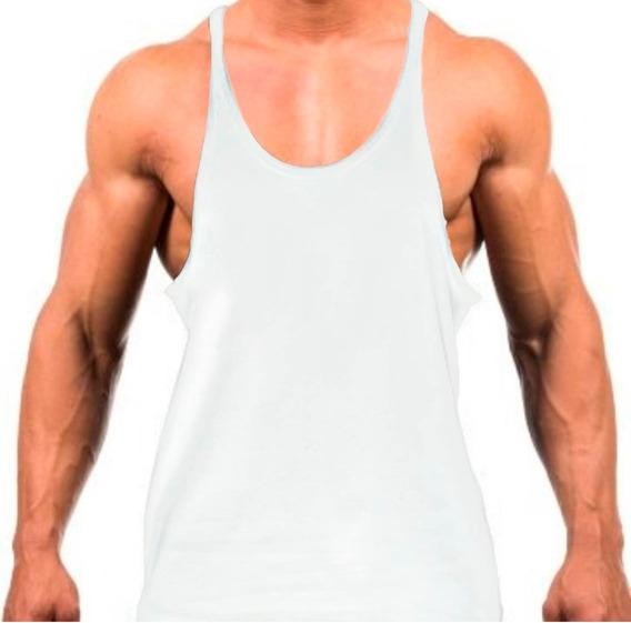 Camisa Masculina Regata Cavada Academia Lisa Fitness