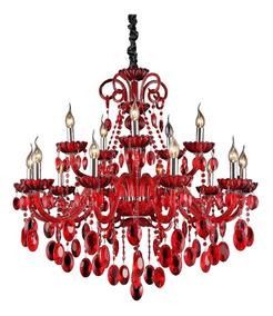 Lustre De Cristal K9 Vermelho 15 Braços Roma Chandelie
