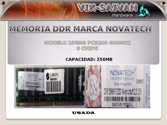 Memoria Ddr Novatech 256mb Pc-3200 400mhz 8 Chips 12