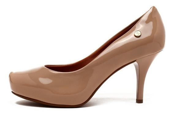Sapato Feminino Scarpin Vizzano Salto Fino Bege Sapato Salto