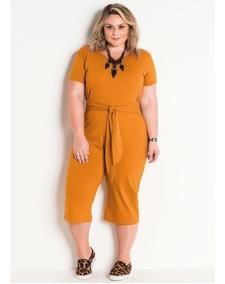 Macacao Plus Size Com Amarração Caramelo