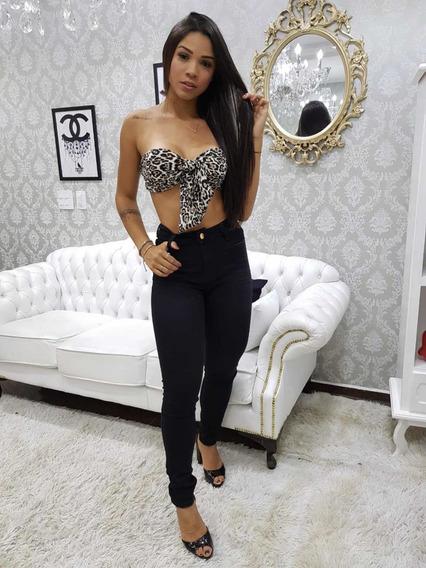 Calça Jeans Feminina Cintura Alta Levanta Bumbum