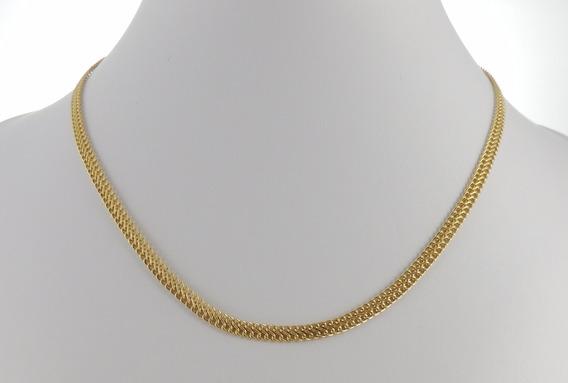 Corrente Feminina Grumet Lacraia 45cm Ouro 18k Gargantilha