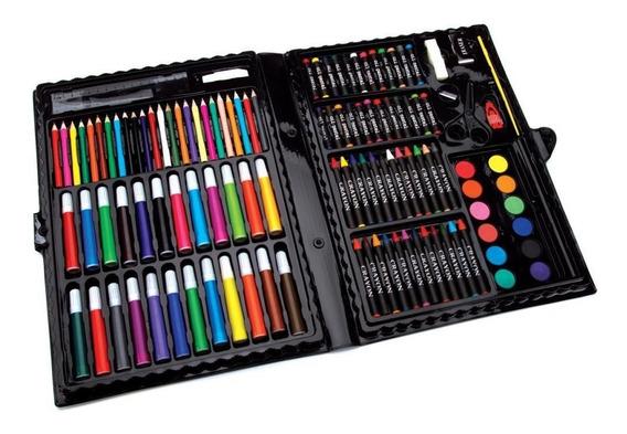Estuche Arte 120 Pzas Pinturas Colores Acuarela Pastel Dibuj