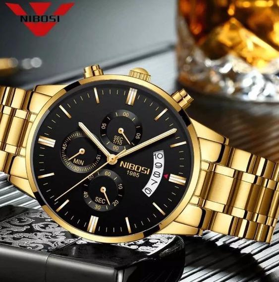 Relógio Masculino Nibosi Prata, Preto E Dourado Funcional