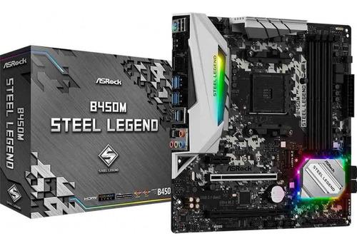 Placa Mae Asrock B450m Steel Legend Chipset B450 Am4 Ddr4