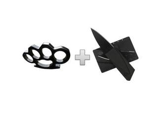 Kit Defensa Personal Navaja Tipo Tarjeta + Manopla + Carnet