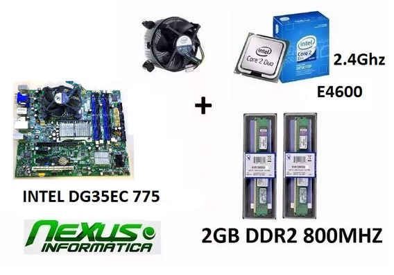 Kit Placa Mae Intel Dg35ec 775 + Core 2 Duo + 2gb Ddr2 800