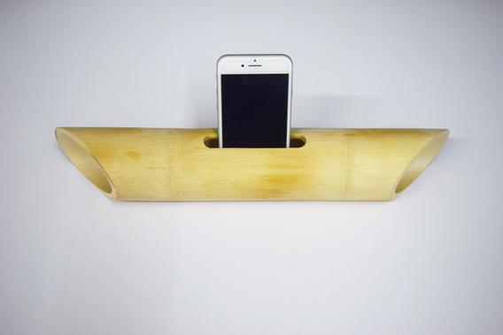 Caixa Amplificador Portátil De Som De Bambu Celular Estek