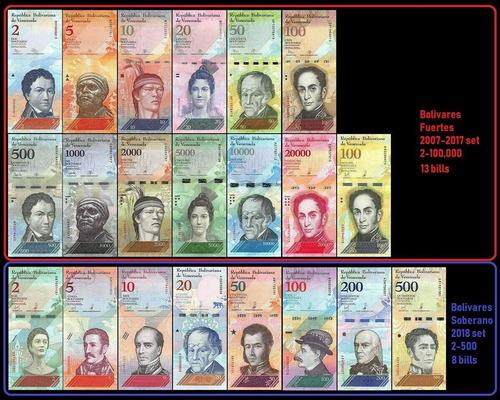 Set Bolivar Fuerte Y Soberano 21 Billetes