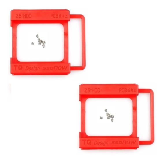 2x Adaptador Suporte Ssd Hd 2.5 Para Baia 3.5 Plástico
