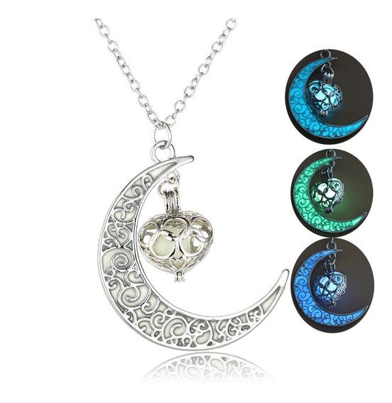 Collar Dije Luna Luminoso Brillante Oscuridad Corazón C113