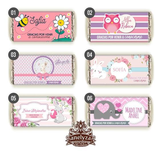 50 Chocolates Personalizados Para Nacimiento De Niña