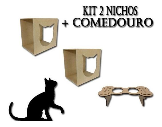 Kit C/ 2 Nichos Casinha + 1 Comedouro Em Mdf P/ Gatos 0843r