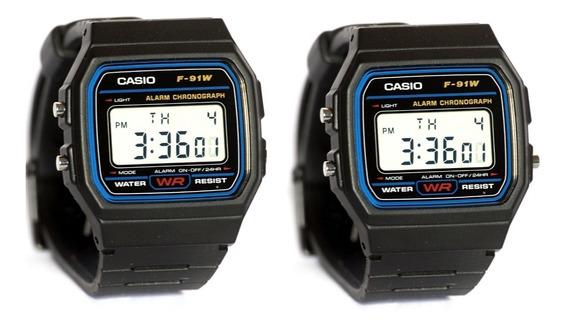 Relógio Pulso Casio F 91w Kit 2 Promoção