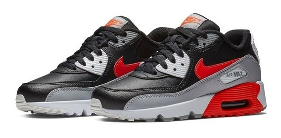 Tênis Nike Air Max 90 Leather Gs Reversed Infrared Original