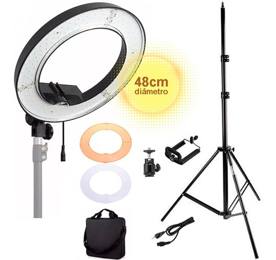 Ring Light Iluminador Led Tipo Aro 18 48cm Completo + Tripé