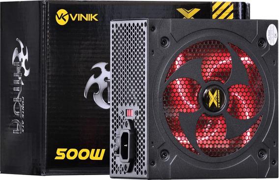 Fonte Atx 20+4 Pinos Vx Ninja 500w 110 220v Led Vermelho
