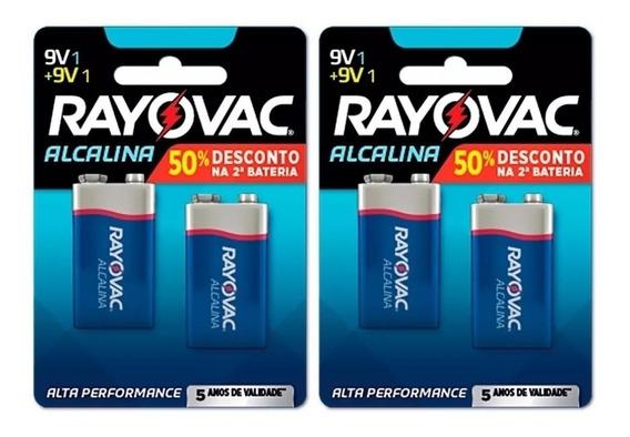 Bateria Rayovac 9v 100% Original Kit C/02 Cartelas = 4 Unid