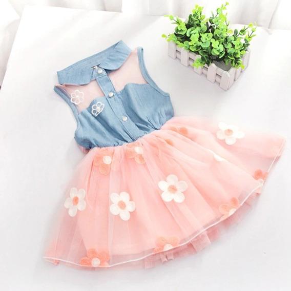 Vestido Jeans Bebê Infantil Menina Flor Branco