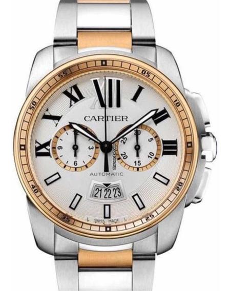 Relógio Calibre De Cartier Chronograph Ouro Rosé 18k Origina