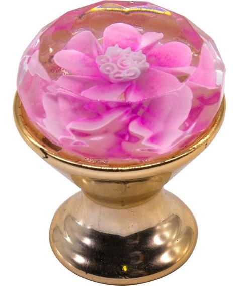 Puxador Cristal Flor Rosa Gaveta Porta Armário Parafuso