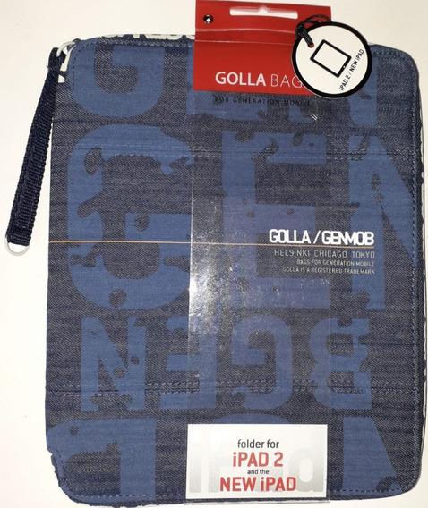 Case Golla Punch G1328 Denin Blue Para iPad 2 E Novo iPad