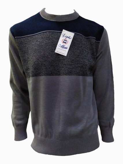 Suéter Gris Con Azul Marino Cuello Redondo