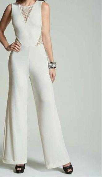 Macacão Social Longo Feminino Pantalona Branco Amarelado