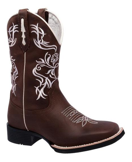 Bota Feminina Country Texana Couro Bico Quadrado Cano Alto