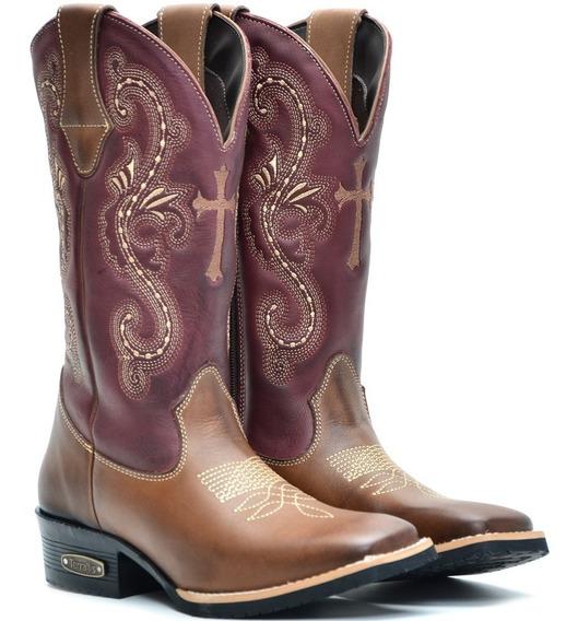 Bota Texana Couro Feminina Cano Longo Rodeio Bico Quadrado