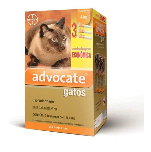 Antipulgas Advocate Gatos Até 4 Kg (combo 3 Bisnagas 0,4 Ml)