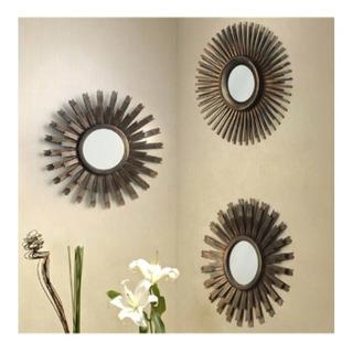 Set 3 Figuras Deco Soles Con Espejo Dorado