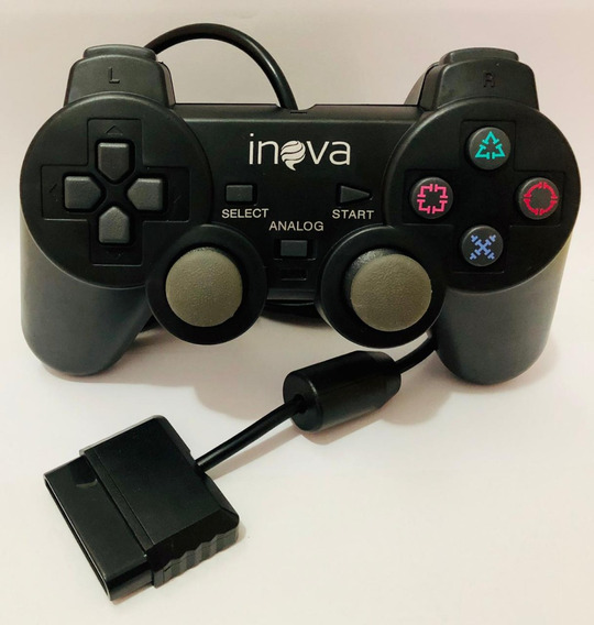 2 Controle Joystick Playstation Ps2 Inova Con-147b Atacado